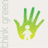 Think green. Green hand with person in signal of protection Royalty Free Stock Photo