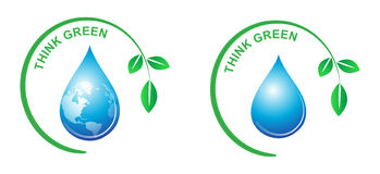 Think green. Illustration of think green concept on white background Royalty Free Stock Photography