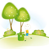Think green. Happy and small boy earth protection and think green vector illustration