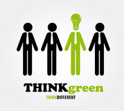 Think green. Over gray background  illustration Royalty Free Stock Photo