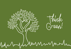 Think green. Over greenboard background vector illustration Stock Photos