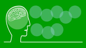 Think green, animated illustration in line art style, head with pulsing brain, colorful lettering in white circles, flat stock video