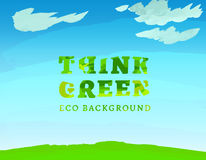 01 Think Green Background. Vector watercolor hand drawn Illustration of environmentally friendly World. Think Green. Ecology Concept royalty free illustration