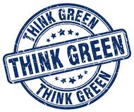 Think green blue stamp. Think green blue grunge round stamp isolated on white background Royalty Free Stock Photos