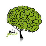 Think green. Brain tree concept for your design Stock Photos