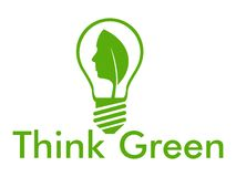 Think green with bulb and face. Think green with leaf and human face into a bulb Stock Image