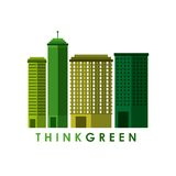 Think green with cityscape background Royalty Free Stock Photo