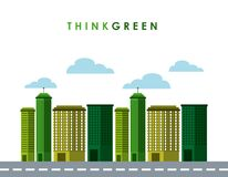 Think green with cityscape background Stock Photo