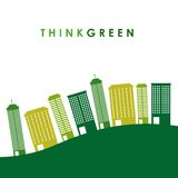 Think green with cityscape background Stock Photography