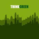 Think green with cityscape background Stock Photos