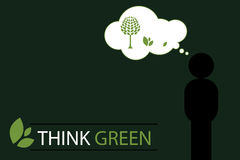Think green concept background 2 - vector. Illustration of a think green concept with a silhouette human thinking nature.EPS file available.Others similar Royalty Free Stock Photography