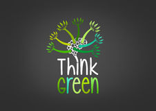 Think green concept design. An illustration represent think green concept design with brain shaped  is overgrown with green trees Royalty Free Stock Photo