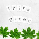 Think green concept with maple leave on white marble background top view. Think green concept with maple leave and copy on white marble background top view royalty free stock photography