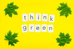 Think green concept with maple leave on yellow background top view. Think green concept with maple leave and copy on yellow background top view royalty free stock photo