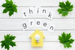 Think green concept with maple leaves, house and lamp on white wooden background top view. Think green concept with maple leaves, house and lamp and copy on royalty free stock image