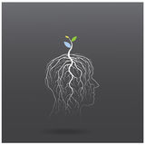 Think green concept. Tree of green idea shoot grow on human head Stock Images