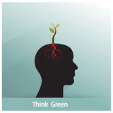 Think Green Concept. Tree Of Green Idea Shoot Grow On Human Symbol. Business And Green Industrial Idea. Stock Photos