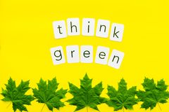 Think green copy with green maple leaves for ecology concept on yellow background top view.  stock photos