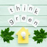 Think green copy with green maple leaves, house and lamp for ecology concept on mint green wooden background top view. Think green copy with green maple leaves stock image