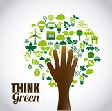 Think green. Design,  illustration eps10 graphic Royalty Free Stock Image