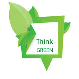 Think green design illustration with green leaves Stock Photos