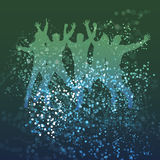 Think Green - Eco Background. Think Green - Abstract Eco Background with People's Silhouettes in Bokeh Bubbles Stock Photo