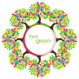 Think green eco concept. Colored tree Vector illustration. Stock Photo