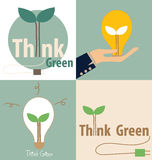 Think green, Eco concept. Light bulb with tree inside. Vector il Royalty Free Stock Photo
