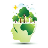 Think green. Ecology concept. save world vector illustration Royalty Free Stock Photos