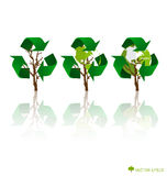 Think green, Ecology concept. Tree with Recycle symbol, vector I Stock Photos