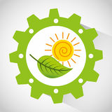 Think green ecology icons Royalty Free Stock Images