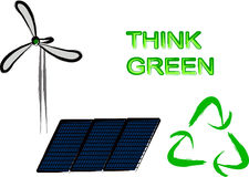 Think green elements. Wind turbine, solar panel and recycle sign Royalty Free Stock Images