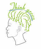 Think green - female with hairstyle Stock Photo