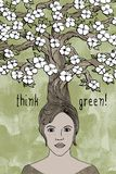 Think green! - hand drawn girl's face and tree Royalty Free Stock Photography