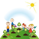 Think green. Happy girls and boys plant green trees royalty free illustration