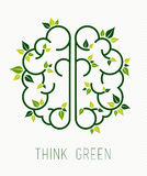 Think green human brain concept with leaf Royalty Free Stock Photos