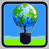 Think Green Icon. Think Green illustration on blue and green background (square Stock Image