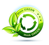 Think green icon. Think green with recycling arrows Stock Image