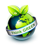 Think green icon. With earth Royalty Free Stock Photos