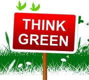 Think Green Indicates Earth Day And About Royalty Free Stock Images