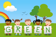 Think Green Kids. Five cute kids holding the letters of the word green in a spring day with rainbow. Useful for educational and learning purposes. Eps file Royalty Free Stock Photography