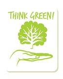 Think Green label. Vector illustrations of the Think Green label Stock Photos