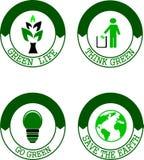 Think Green logo set. Environmental mini set: Green life, Think Green, Go Green, Save the Earth logo Stock Images