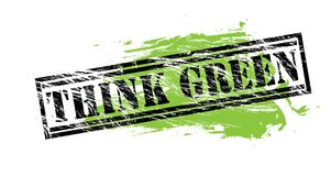 Think green natural black and green stamp on white background. Think green black and green  stamp Royalty Free Stock Photos