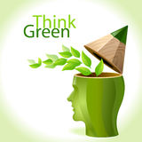 Think Green - Pencil Man. Think green , do not destroy delicate nature  balance , let's bring out creative solutions for this huge problem Stock Photo