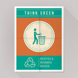 Think green poster. On recycling and waste disposal Royalty Free Stock Photo