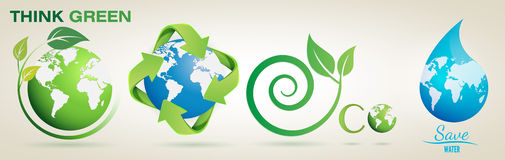 Think Green, Recycle, Eco, Save Water- Vector Logo Set Stock Photo