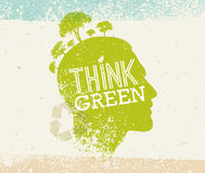Think Green Recycle Reduce Reuse Eco Poster. Vector Creative Organic Illustration On Paper Background. Stock Photography