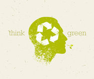 Think Green Recycle Reduce Reuse Eco Poster. Vector Creative Organic Illustration On Paper Background. Stock Photos