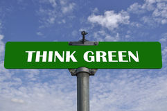Think green road sign Stock Photography